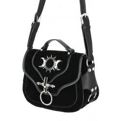 Triple Moon Samt und Leder Handtasche
